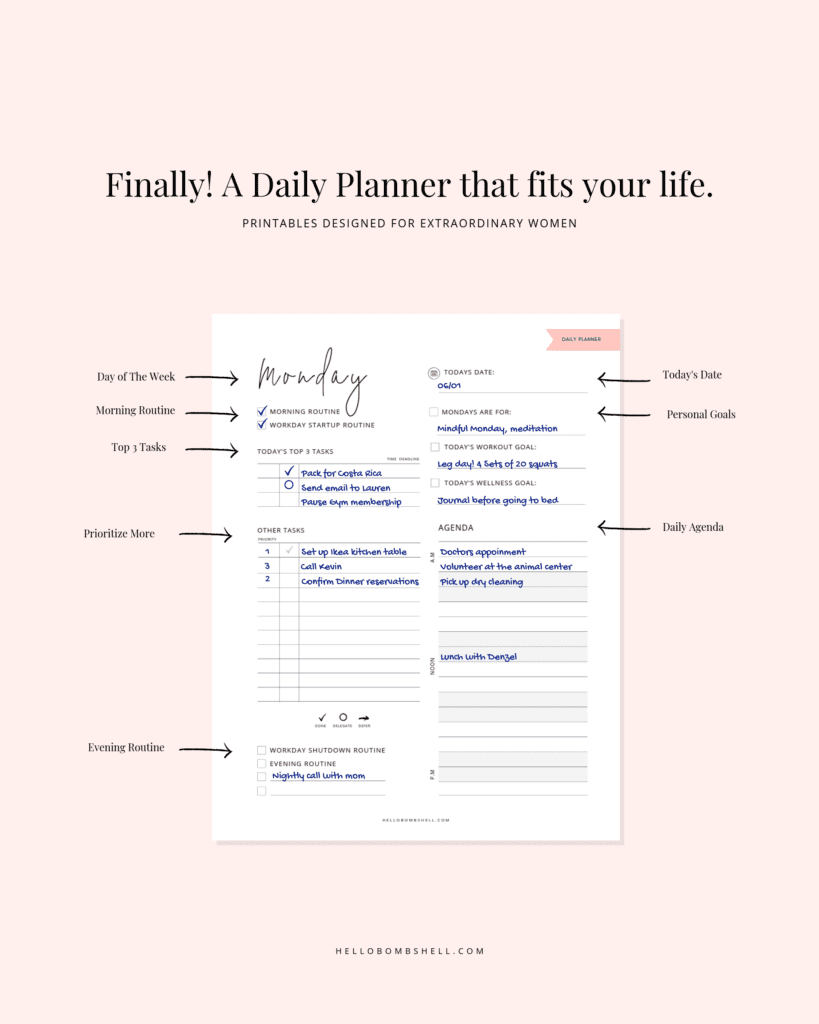 free daily planner printable mock up