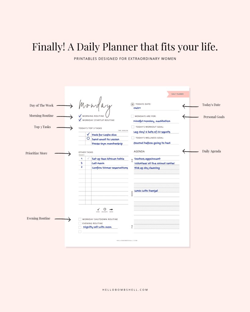 mock up example of planner printable