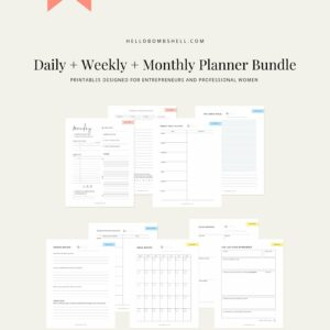 weekly monthly daily bundle planner printable mock up