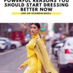 style tips with stylish woman walking across street