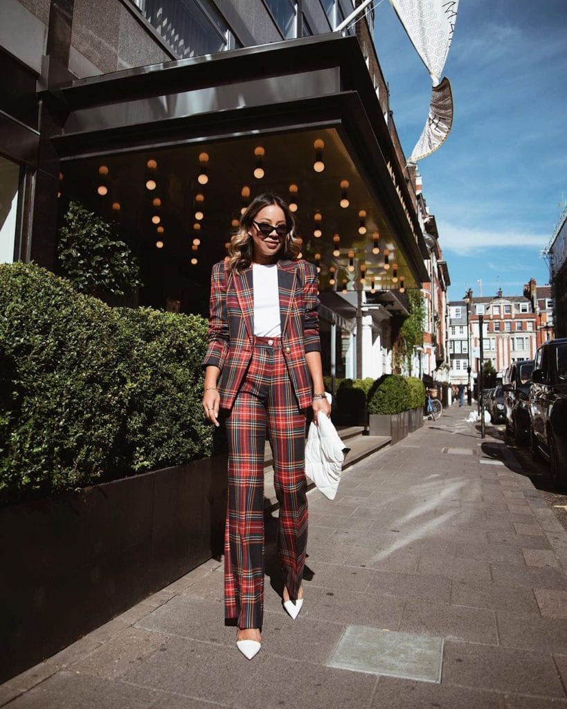 woman in casual fall outfit plaid suit