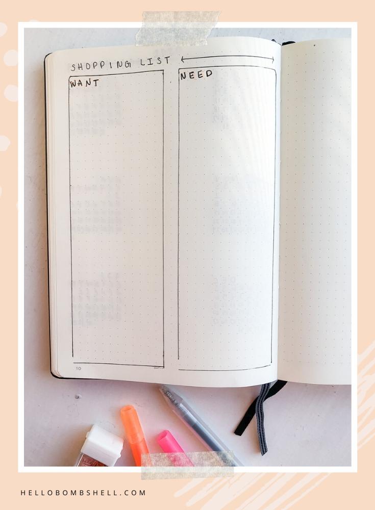 Planner shopping list for bullet journal bujo.