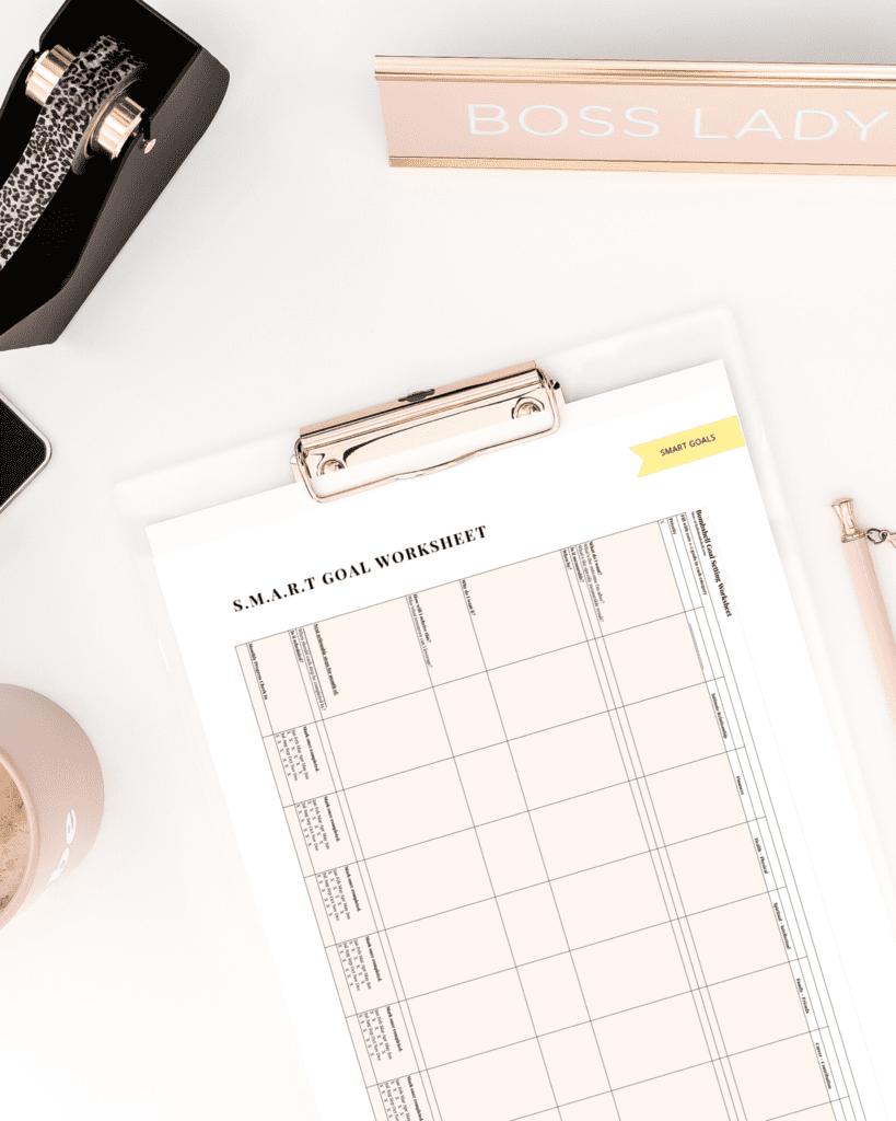 smart goals setting worksheet mock up