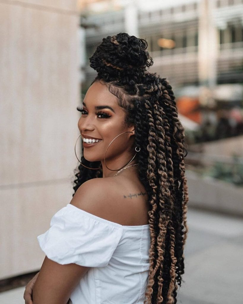 woman with passion spring twist braided twists hairstyle for black women