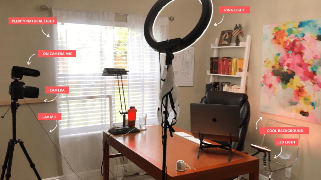 Youtube Studio Setup In Bedroom Home Office Equipment Lighting And Background Ideas Hello Bombshell