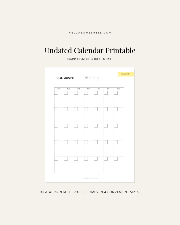 undated blank calendar template printable