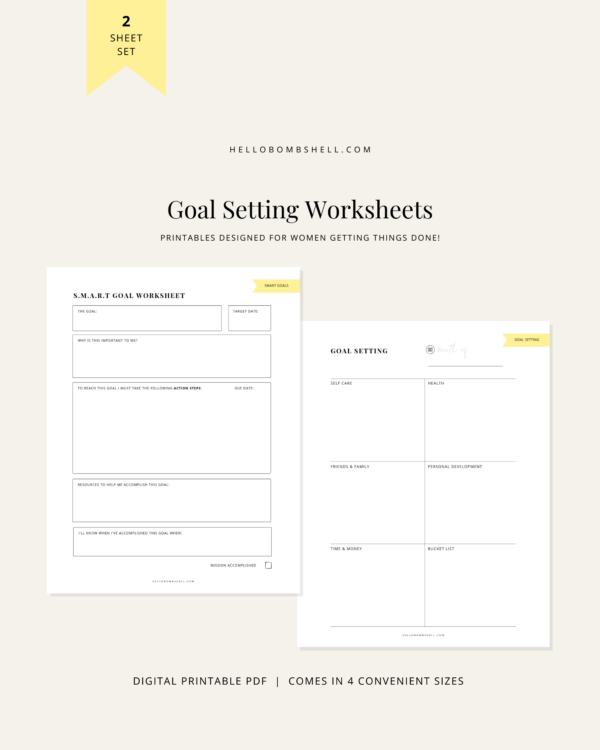 goal setting printable worksheet