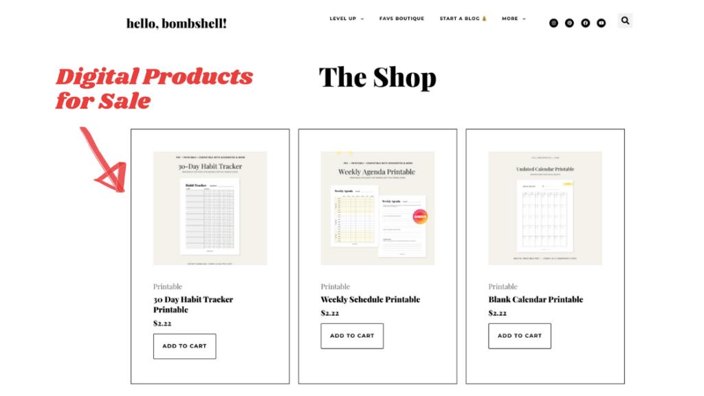 selling digital products on fashion blog